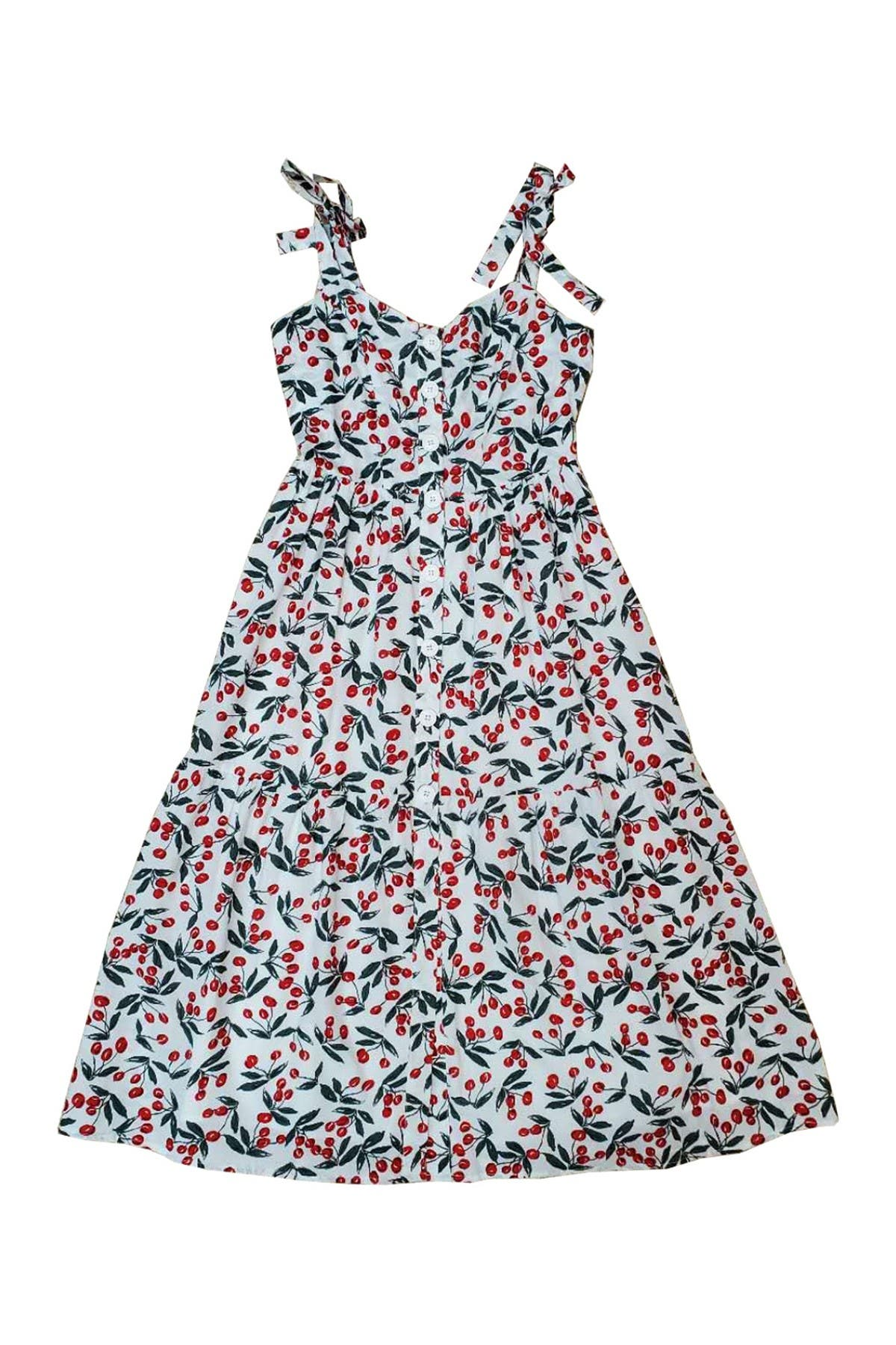 Image of MELLODAY Tie Shoulder Ditsy Print Midi Dress