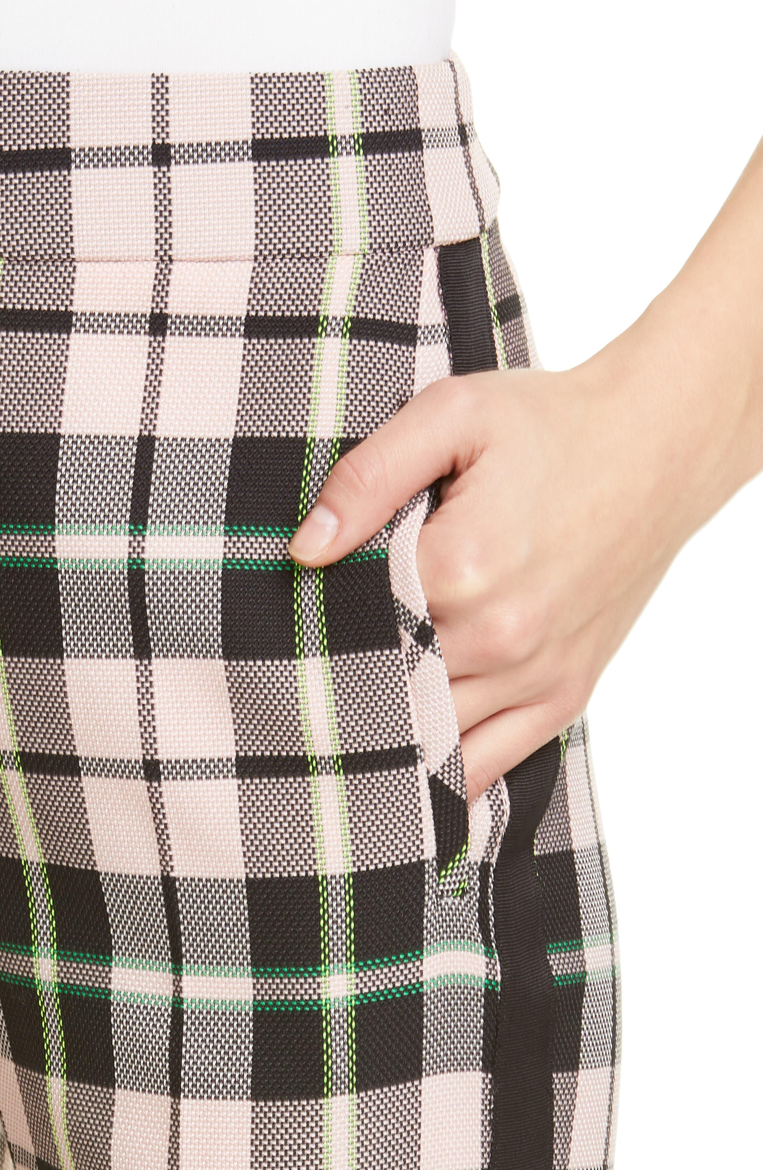 ,                             Gemini Plaid Crop Trousers,                             Alternate thumbnail 4, color,                             PINK MULTI