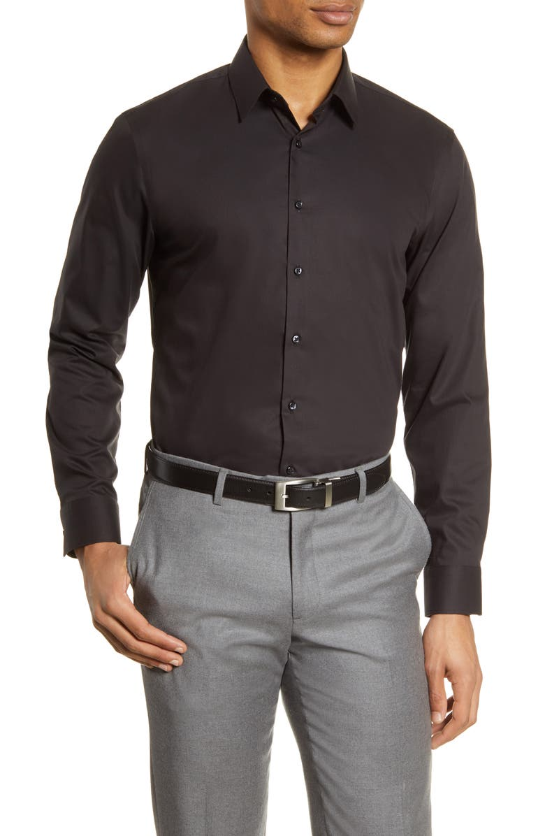 NORDSTROM MEN'S SHOP Extra Trim Fit Non-Iron Solid Stretch Dress Shirt, Main, color, BLACK