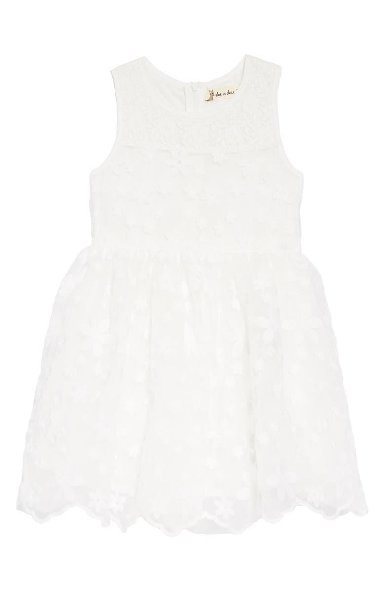 DOE A DEAR Floral Embroidered Dress, Main, color, 100