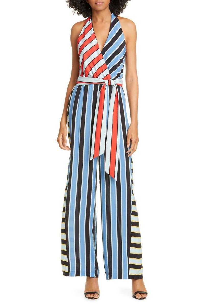 ALICE + OLIVIA Stripe Block Halter Neck Jumpsuit, Main, color, DOUBLE PINSTRIPE RIVIERA COMBO