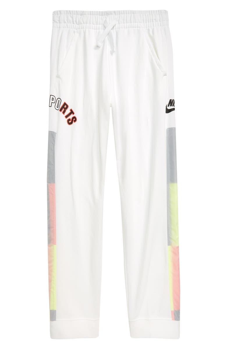 NIKE Zip Cuff Jogger Pants, Main, color, WHITE/ BLACK