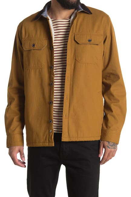 Image of Tailor Vintage Faux Shearling Lined Stretch Canvas Shirt Jacket