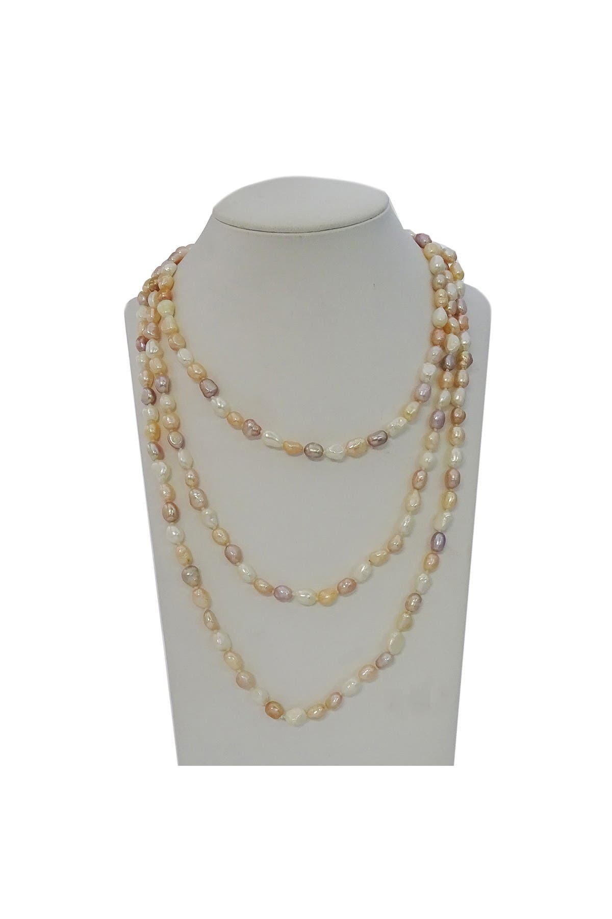 """Savvy Cie 64"""" Multi-Color Pale Tone Cultured 10mm Pearl Endless Necklace"""