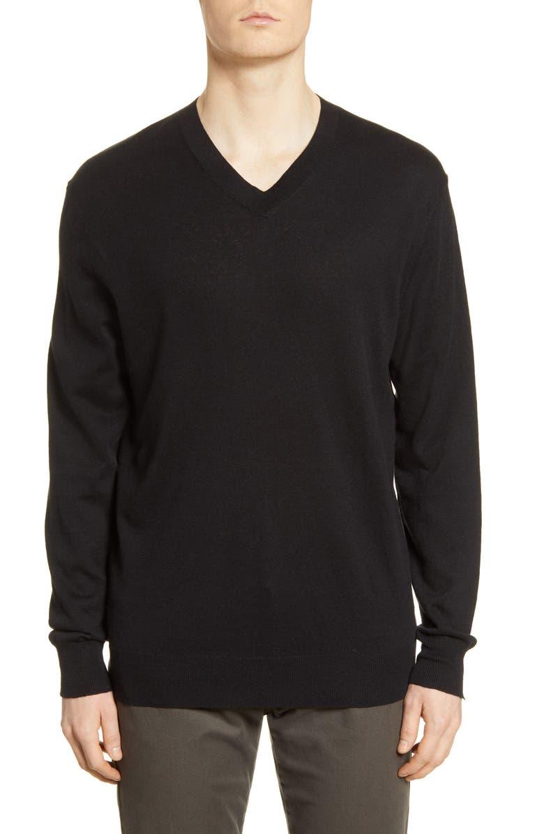 BLDWN Leo V-Neck Cotton & Linen Blend Pullover, Main, color, BLACK