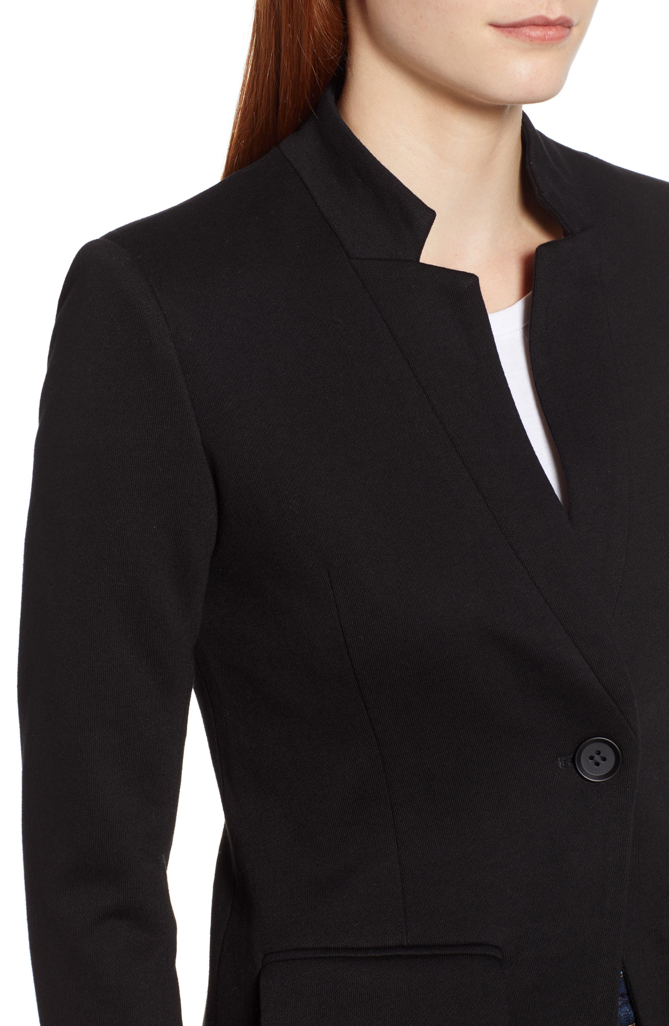 ,                             Notch Collar Cotton Blend Blazer,                             Alternate thumbnail 5, color,                             BLACK