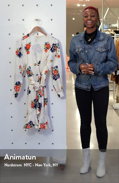 Floral Print Long Sleeve Silk Wrap Dress, sales video thumbnail