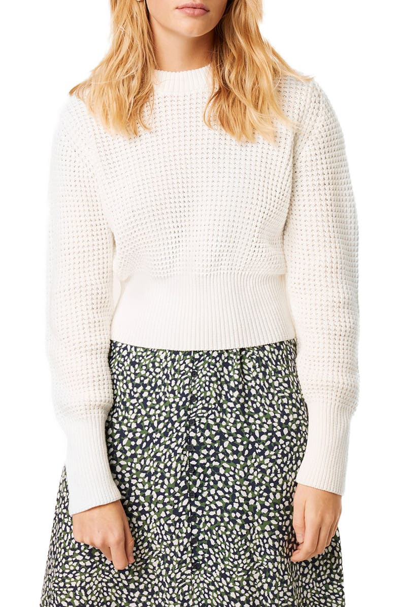 FRENCH CONNECTION Luna Mozart Waffle Knit Cotton Sweater, Main, color, SUMMER WHITE