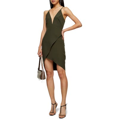 Topshop Plunge Slipdress, US (fits like 16-18) - Green