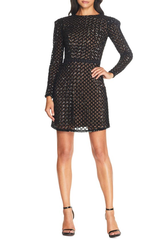 Dress The Population COLLINS LACE LONG SLEEVE BODY-CON COCKTAIL DRESS