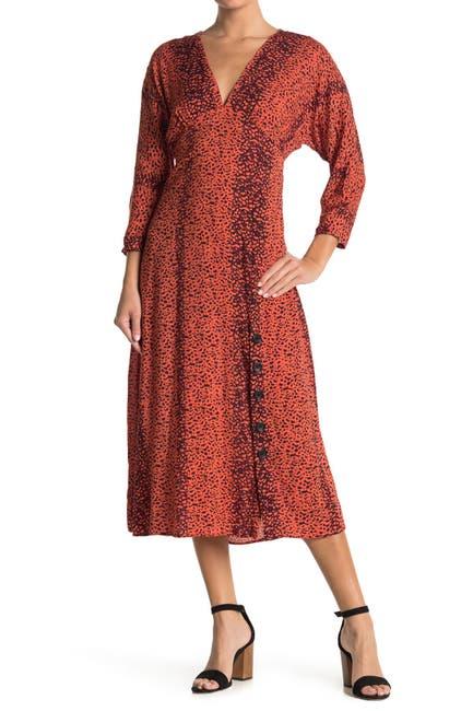 Image of Angie Leopard Print Button Midi Dress