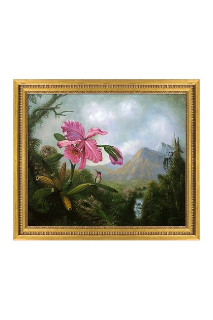 Image of Overstock Art Orchid And Hummingbird Near A Mountain Waterfall, 1902 - Framed Oil Reproduction of an Original Painting By Martin Johnson Heade
