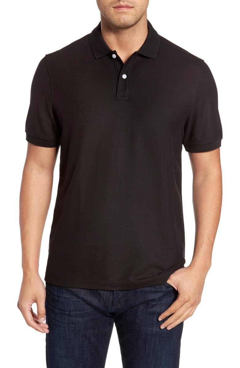 NORDSTROM MEN'S SHOP Regular Fit Piqué Polo, Main, color, BLACK