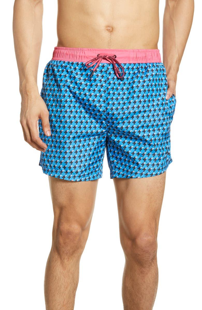 BOSS Toucan Swim Trunks, Main, color, OPEN BLUE