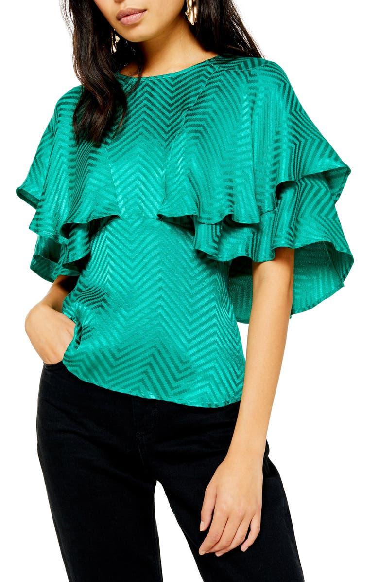 TOPSHOP Austin Jacquard Angel Sleeve Blouse, Main, color, GREEN MULTI