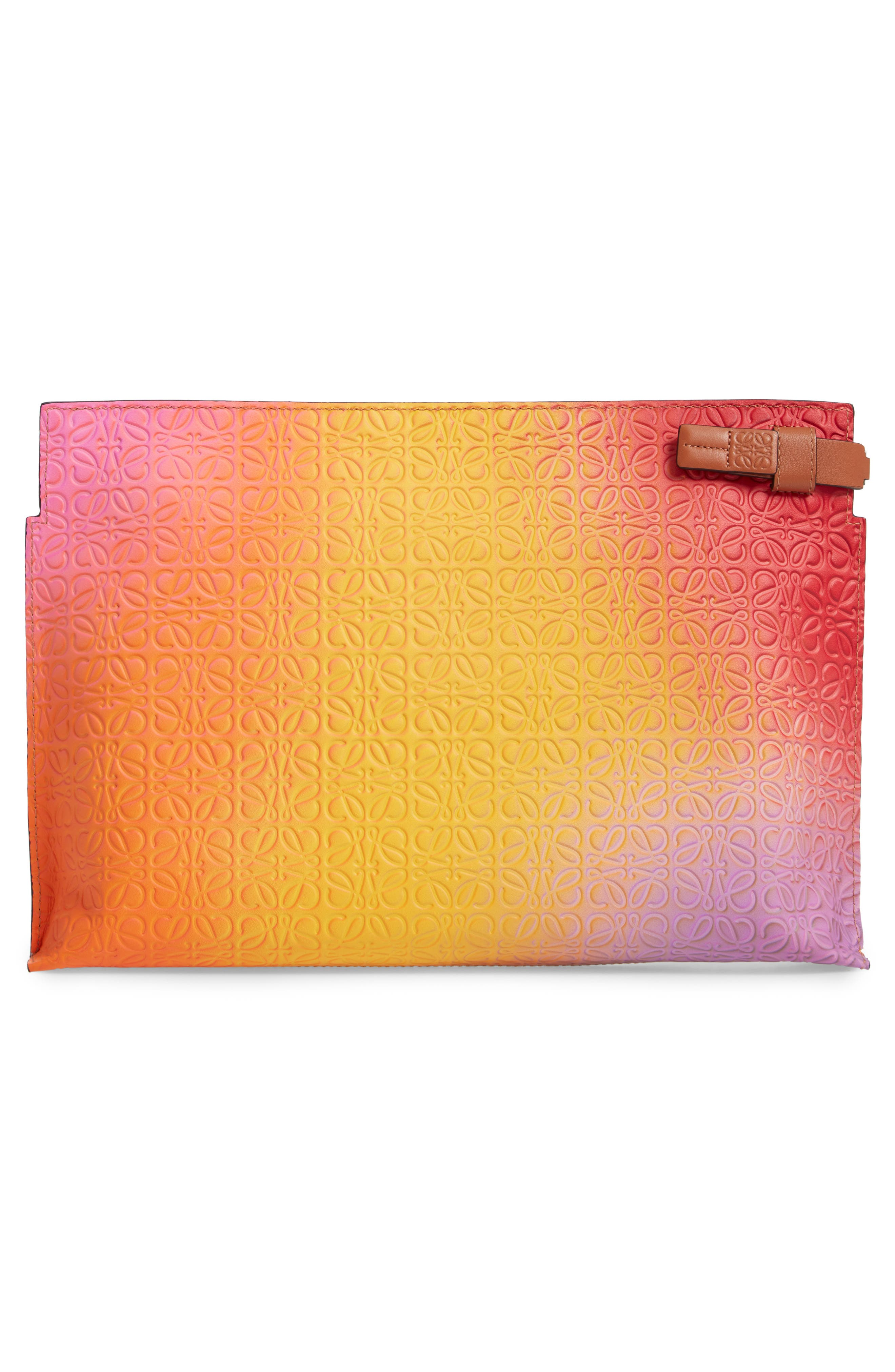 ,                             Repeat Spray Calfskin Leather T Pouch,                             Alternate thumbnail 3, color,                             ORANGE SUNSET