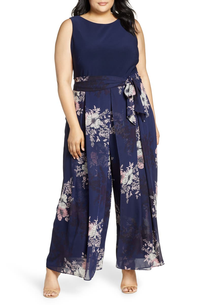 VINCE CAMUTO Floral Print Sleeveless Chiffon Jumpsuit, Main, color, 419