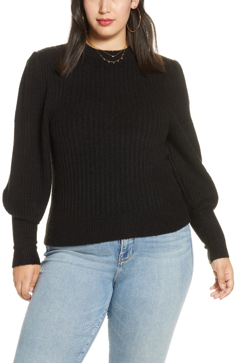 LEITH Ribbed Puff Shoulder Sweater, Main, color, 001