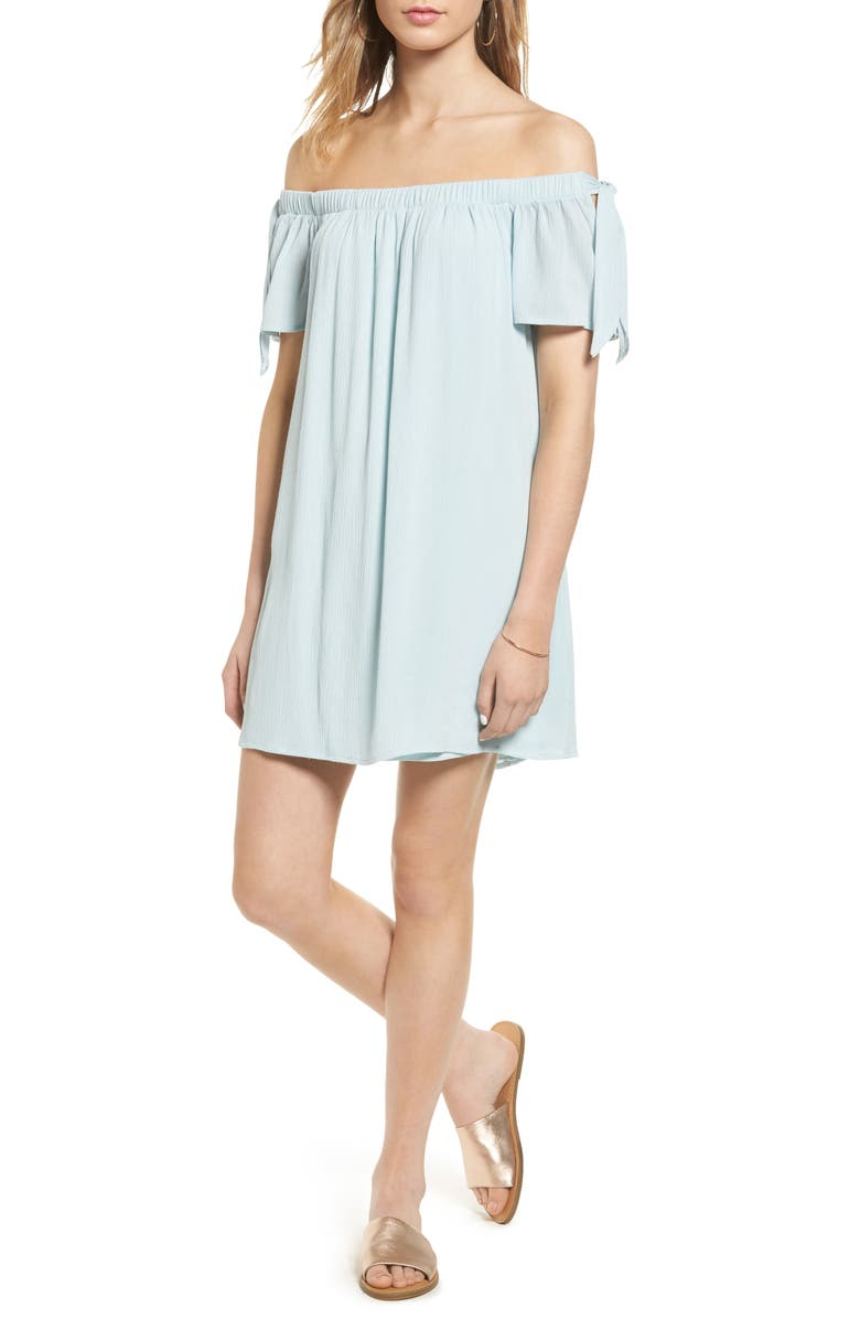 ONE CLOTHING Off the Shoulder Shift Dress, Main, color, 432