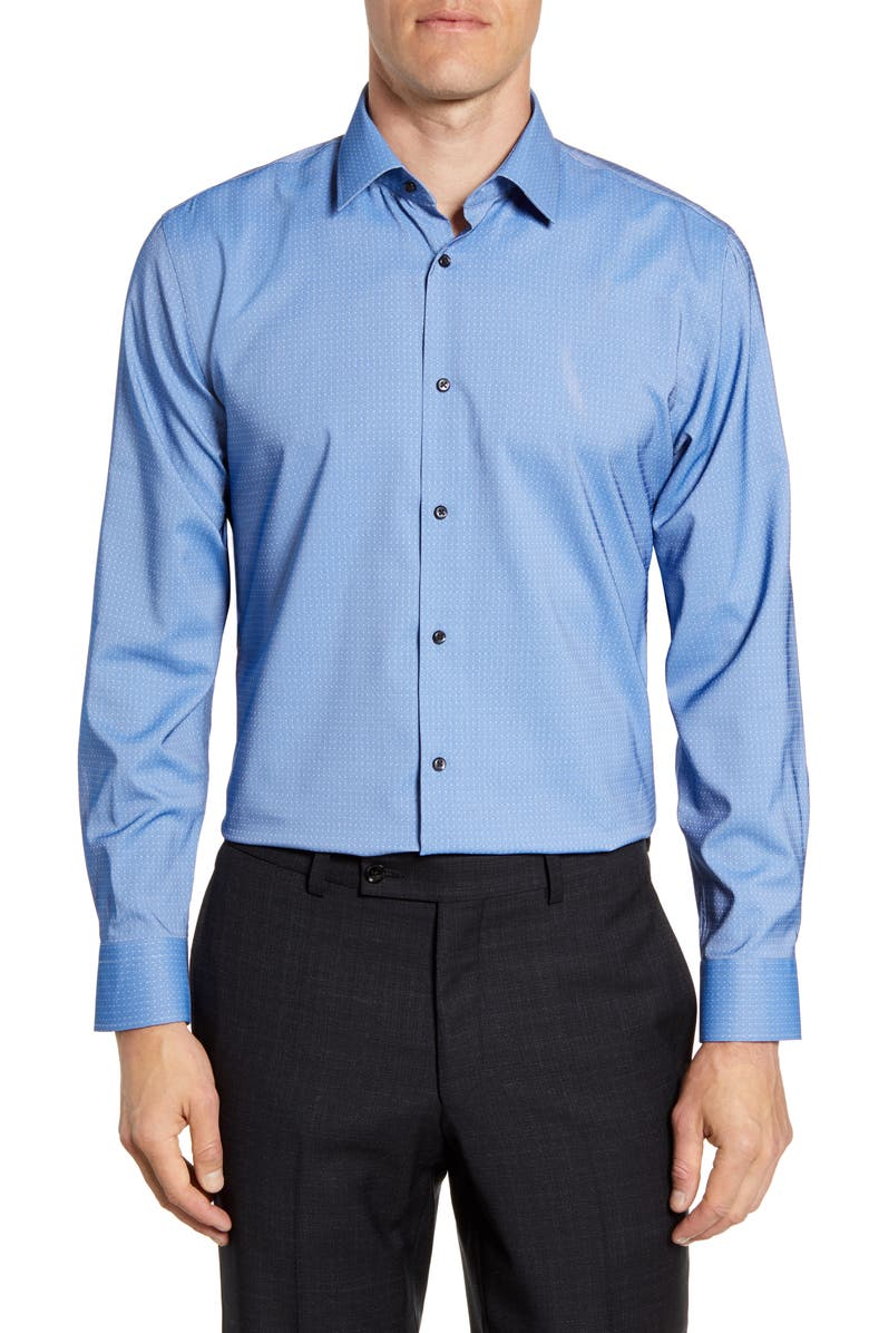NORDSTROM MEN'S SHOP Tech-Smart Trim Fit Stretch Dot Dress Shirt, Main, color, BLUE MAZARINE
