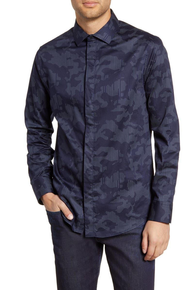 KARL LAGERFELD PARIS Regular Fit Camo Print Button-Up Shirt, Main, color, NAVY