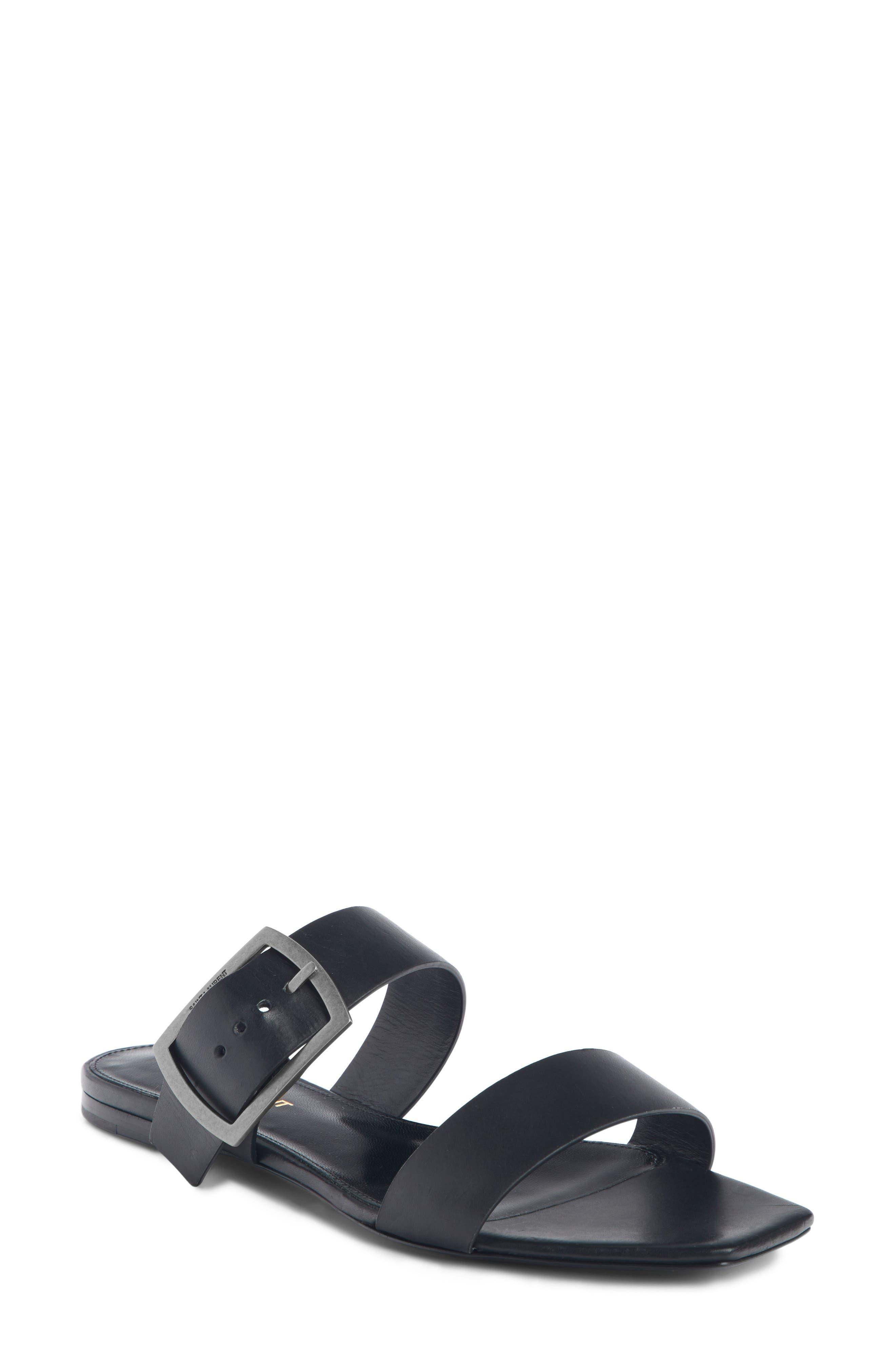 Saint Laurent Oak Nu Pieds Sandal, Black
