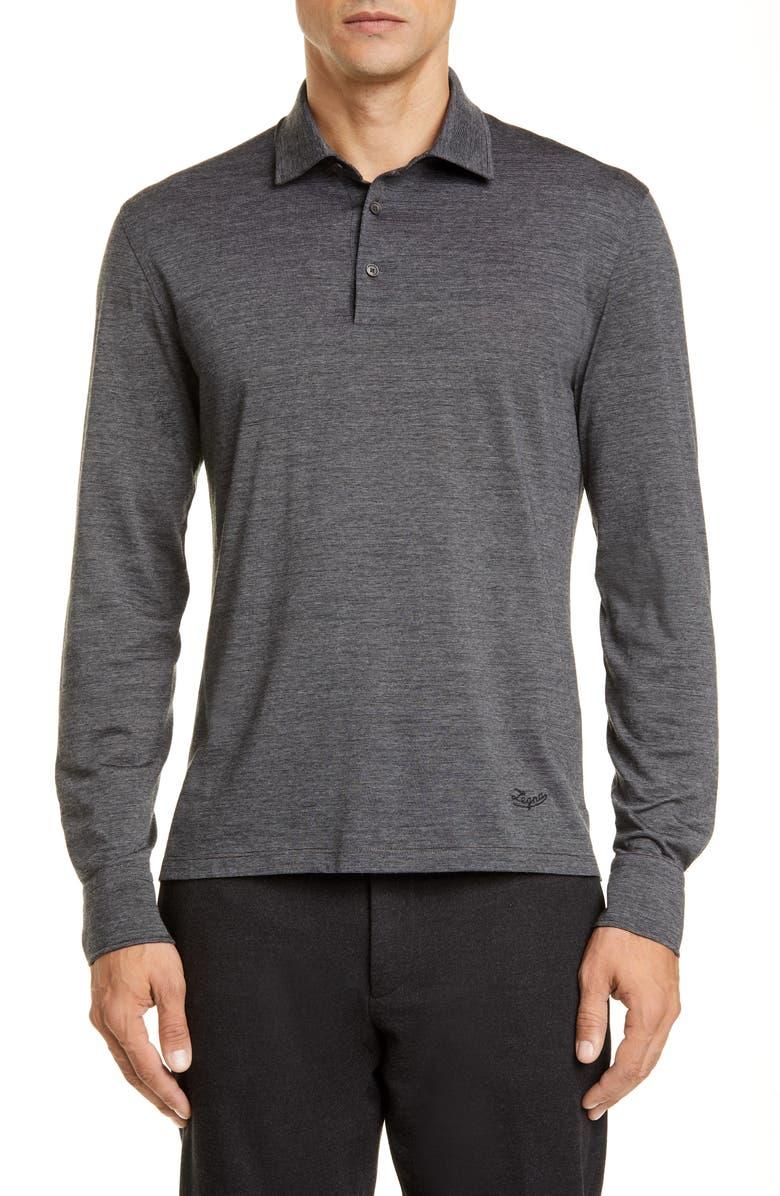2ae8d9ea30 Ermenegildo Zegna Wool & Cotton Long Sleeve Polo Shirt | Nordstrom