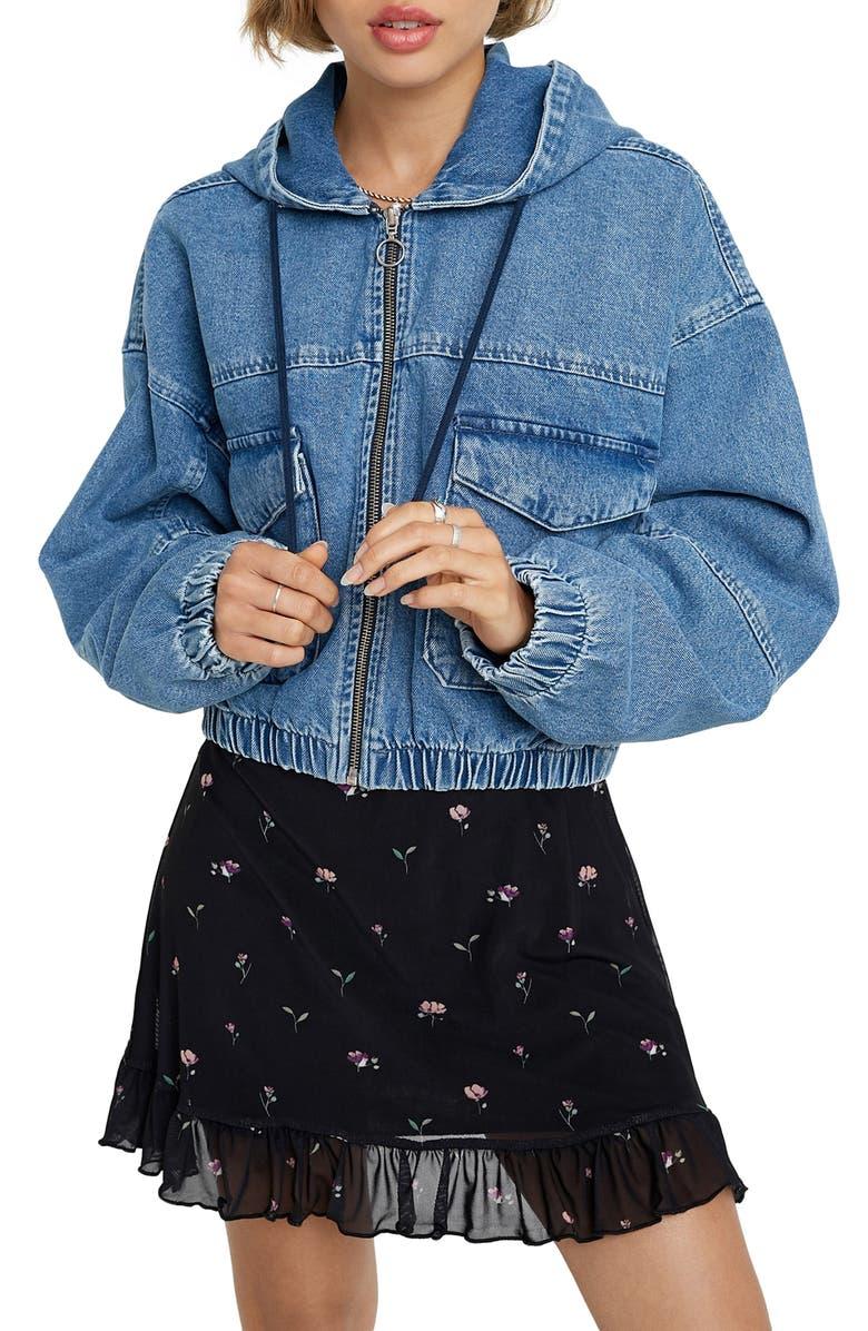 BDG URBAN OUTFITTERS Hooded Crop Denim Jacket, Main, color, MID VINTAGE
