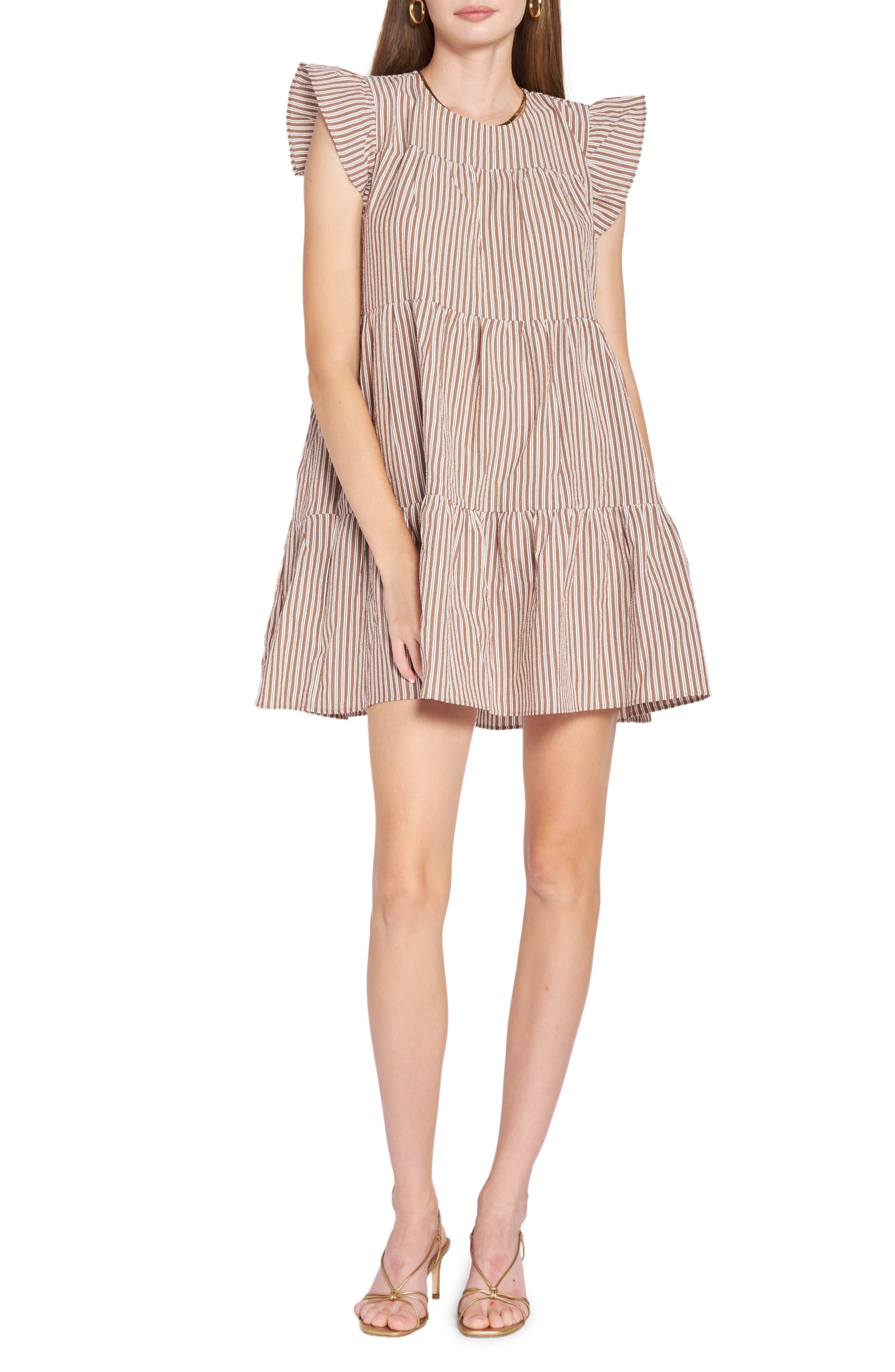 Striped Babydoll Tiered Cotton Minidress