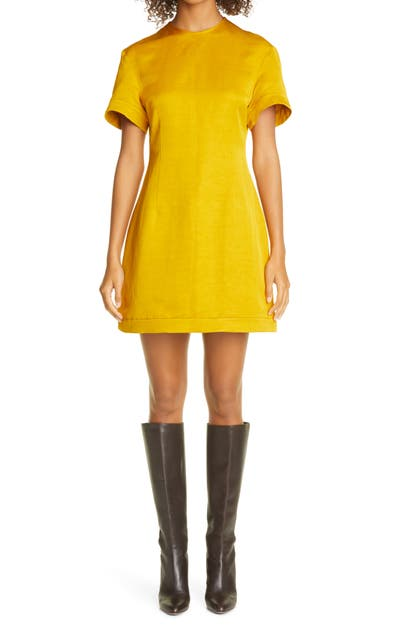 Khaite The Marcia Washed Linen Dress In Marigold