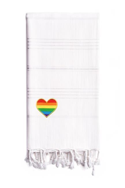Image of LINUM HOME 100% Turkish Cotton Summer Fun Cheerful Rainbow Heart Pestemal Beach Towel - White