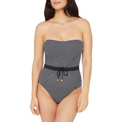 La Blanca Pin Bandeau One-Piece Swimsuit, Black
