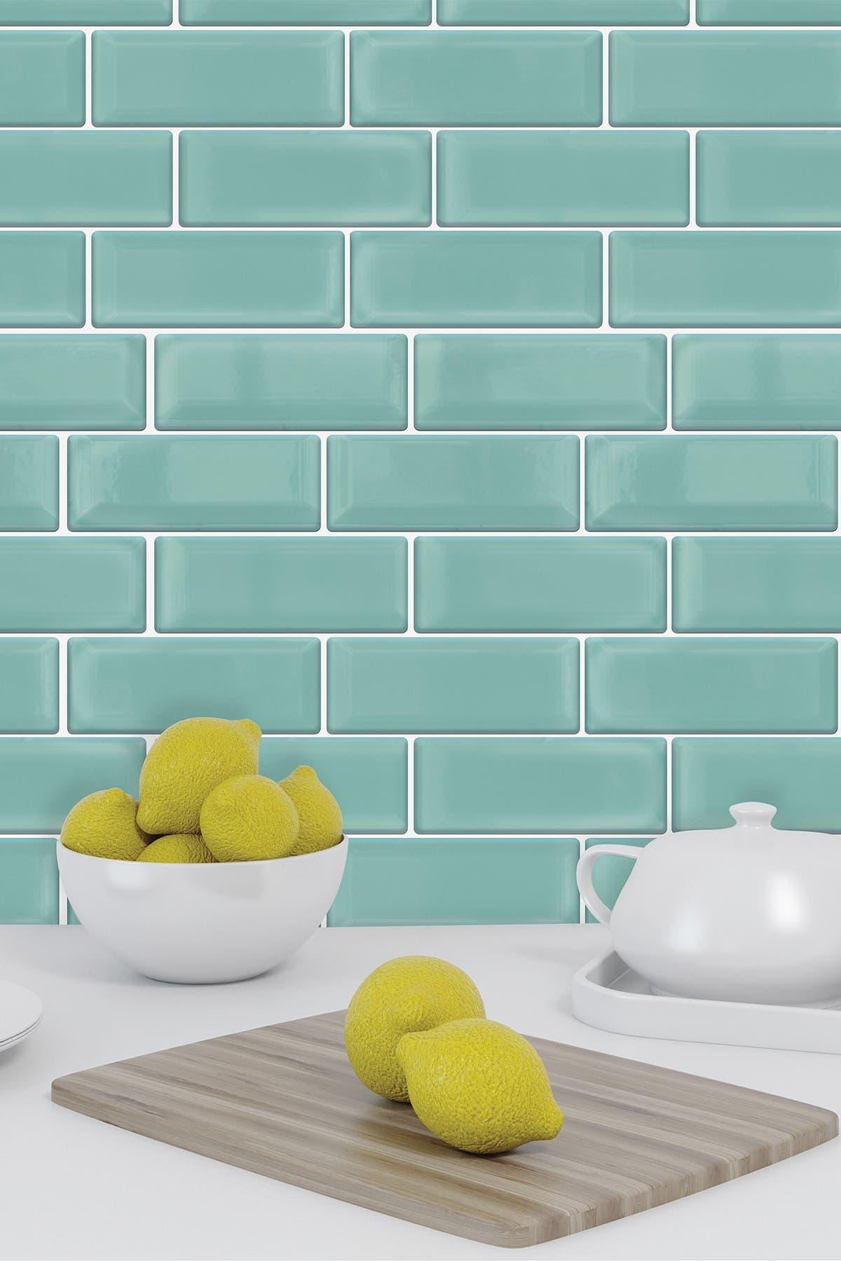 Image of WalPlus Green Sea Glossy 3D Metro Sticker Tiles Contemporary Eclectic Wall Splashbacks Mosaics