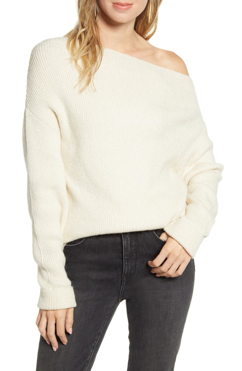 TREASURE & BOND Off the Shoulder Pullover, Main, color, BEIGE OATMEAL LIGHT HEATHER