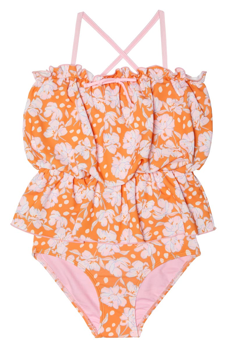 GOSSIP GIRL Flamingo Flower Print One-Piece Swimsuit, Main, color, ORANGE PINK