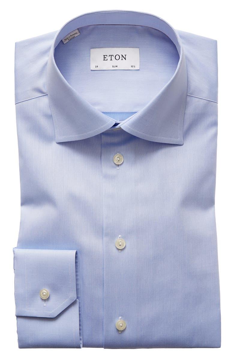 ETON Slim Fit Twill Dress Shirt, Main, color, BLUE