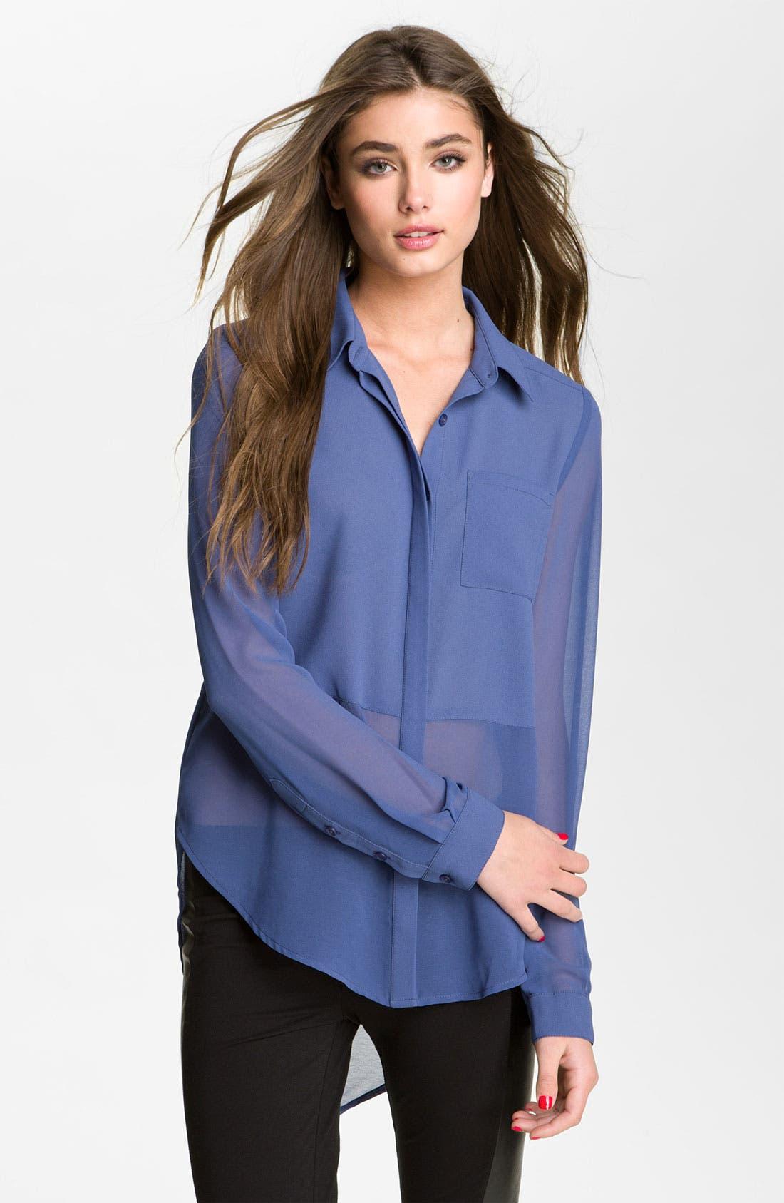 ,                             Lush Sheer Panel High/Low Shirt,                             Main thumbnail 5, color,                             409