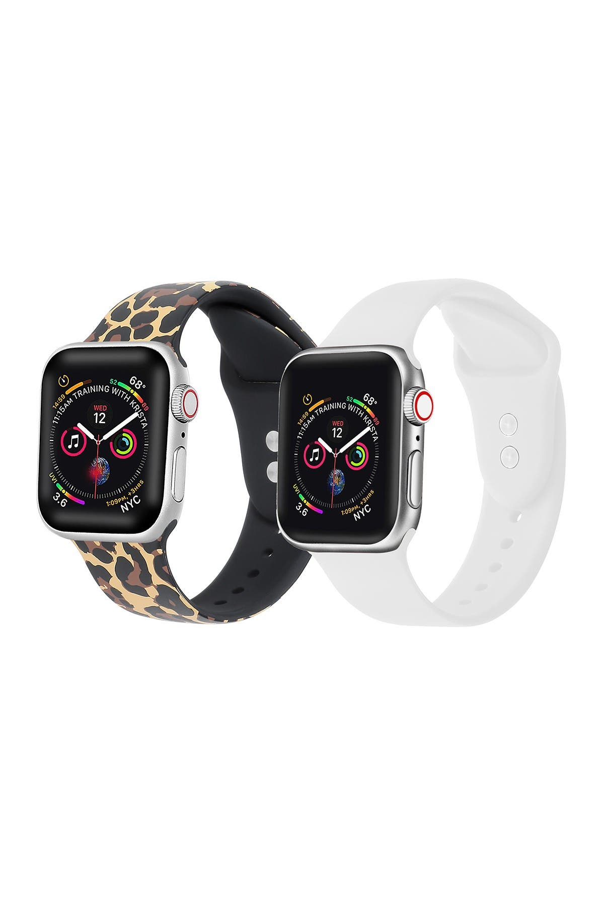 Image of POSH TECH Leopard/White Apple Watch Replacement Band - Set of 2