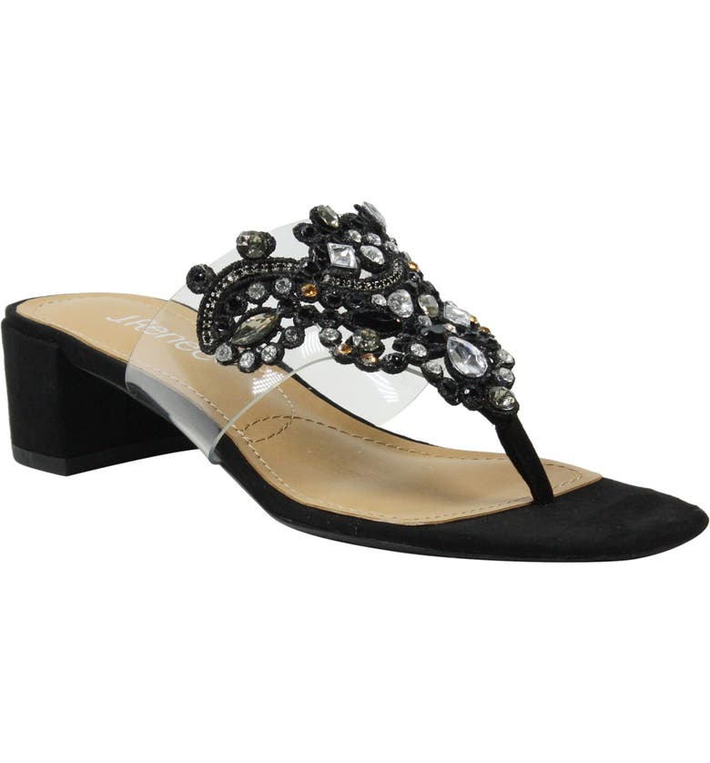 J. RENEÉ Jonette Embellished Slide Sandal, Main, color, BLACK/ CLEAR
