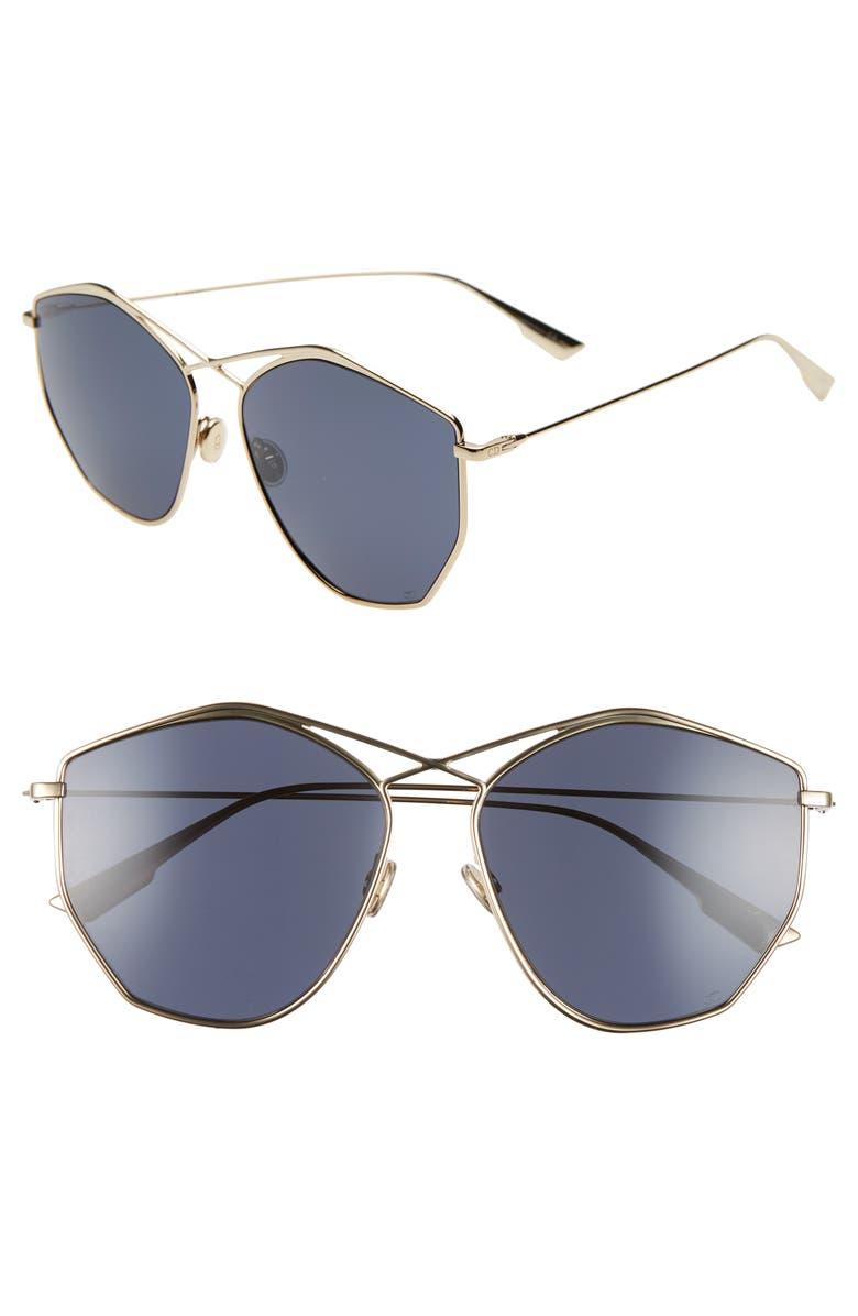 DIOR 59mm Metal Sunglasses, Main, color, GOLD/ BLUE