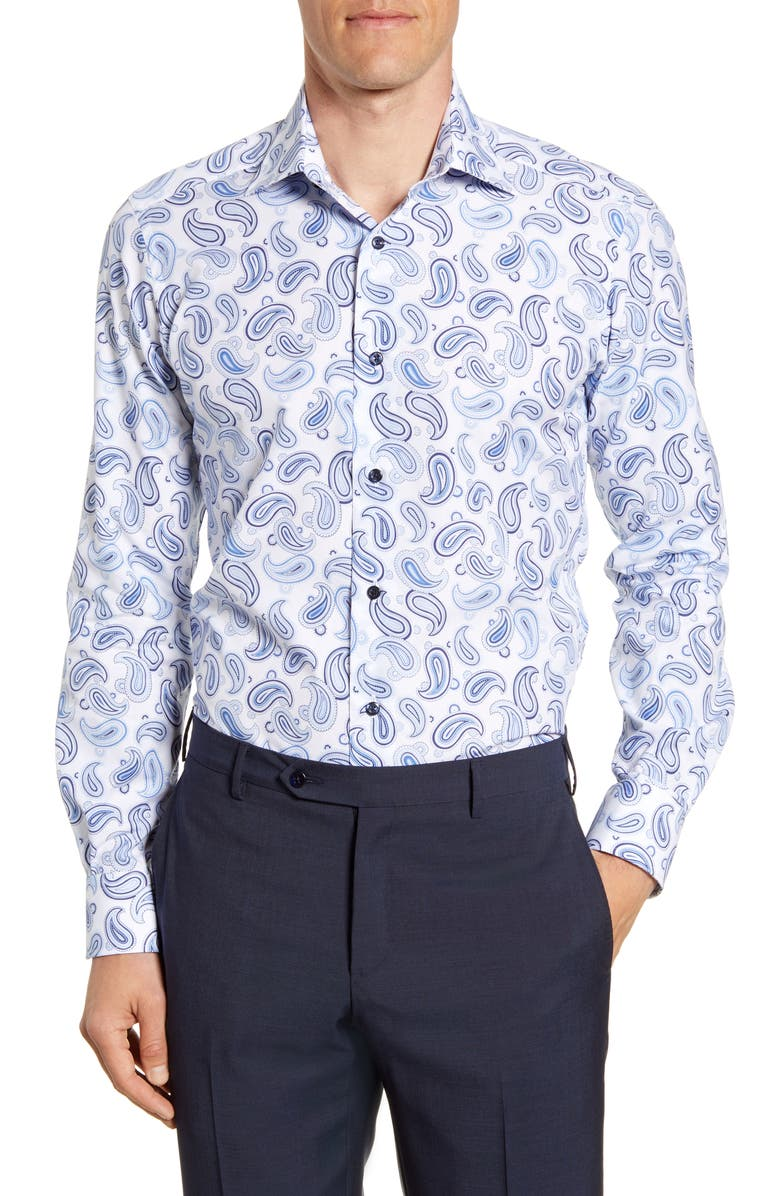 DAVID DONAHUE Trim Fit Paisley Dress Shirt, Main, color, WHITE/ BLUE