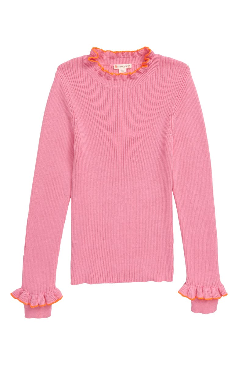 CREWCUTS BY J.CREW Ribbed Mock Neck Sweater, Main, color, PETUNIA NEON