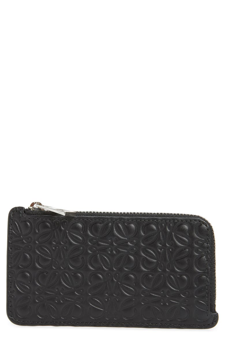LOEWE Coin & Card Leather Zip Pouch, Main, color, BLACK