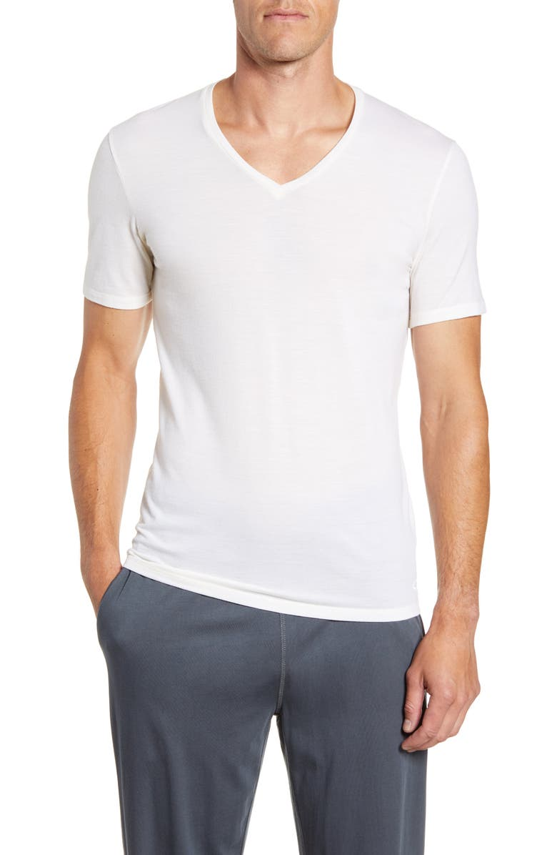 ICEBREAKER Anatomica Short Sleeve V-Neck T-Shirt, Main, color, SNOW
