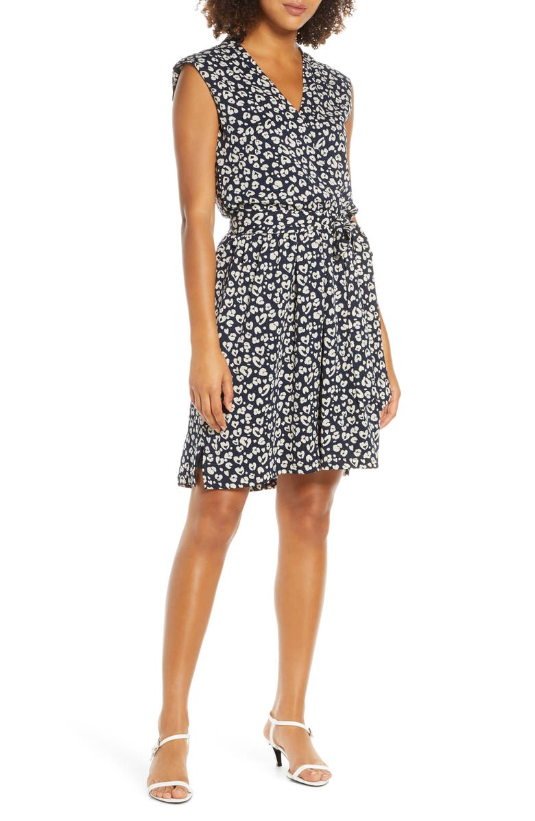 ELIZABETH CROSBY Gemma Tie Front Sleeveless Cocktail Dress, Main, color, NAVY PRINT