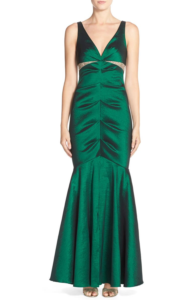 XSCAPE Ruched Taffeta Mermaid Gown, Main, color, 359