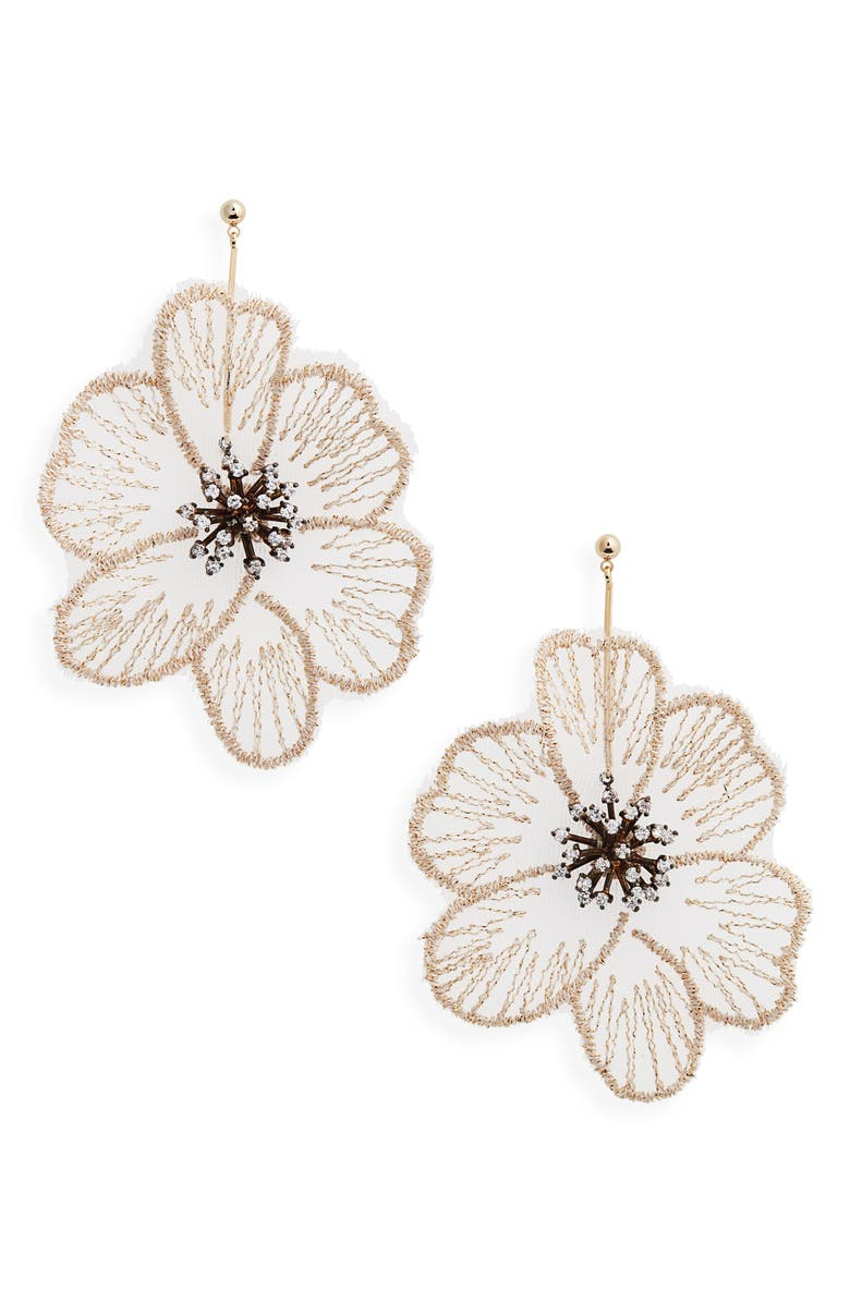 SEREFINA Flower Statement Drop Earrings, Main, color, 900