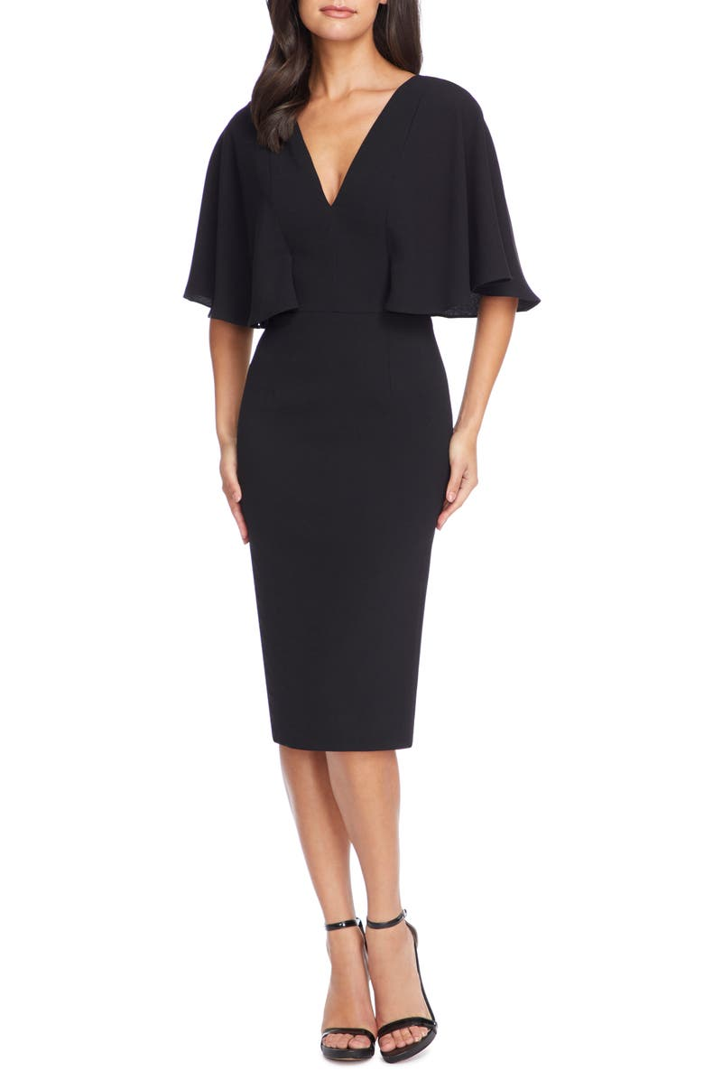 DRESS THE POPULATION Louisa Butterfly Sleeve Cocktail Dress, Main, color, BLACK