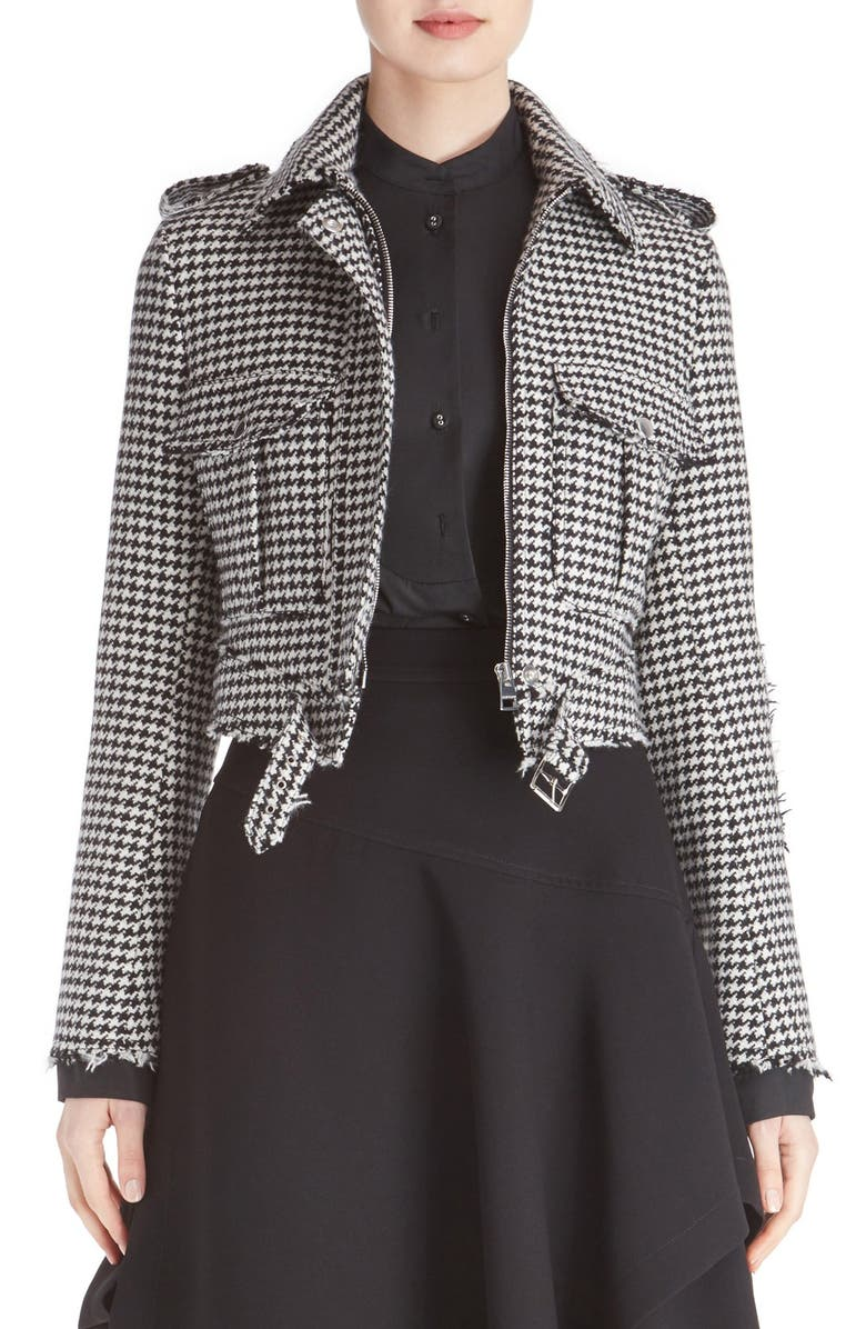 JW ANDERSON J.W.ANDERSON Houndstooth Wool Blend Jacket, Main, color, 001