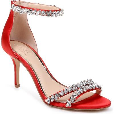 Jewel Badgley Mischka Darlene Embellished Ankle Strap Sandal, Red